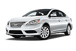 Stock pictures of low aggressive front three quarter view of2014 Nissan Sentra SV 4 Door Sedan Low Aggressive