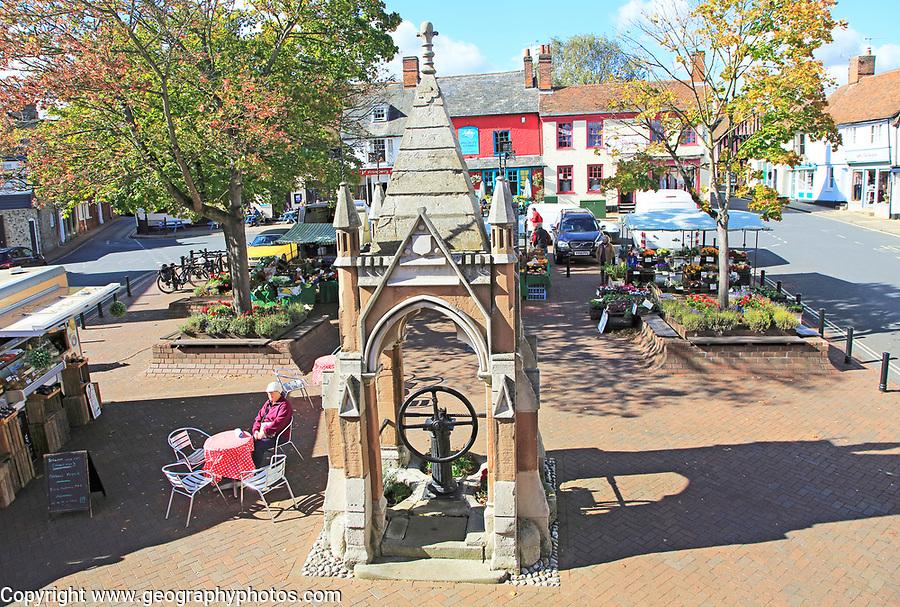 Weekly market on Market Hill, Woodbridge, Suffolk, England, UK