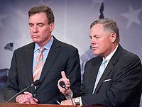United States Senator Mark Warner (Democrat of Virginia), Vice Chairman, US Senate Select Committee on Intelligence, holds a joint press conference with US Senator Richard Burr (Republican of North Carolina), Chairman, US Senate Select Committee on Intelligence in the US Capitol to discuss the upcoming committee hearings on Russian intelligence activities in the US and around the world on Wednesday, March 29, 2017. Photo Credit: Ron Sachs/CNP/AdMedia