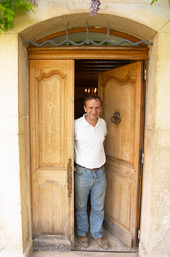 Jean-Benoît Cavalier Chateau de Lascaux, Vacquieres village. Pic St Loup. Languedoc. A door. Owner winemaker. France. Europe.