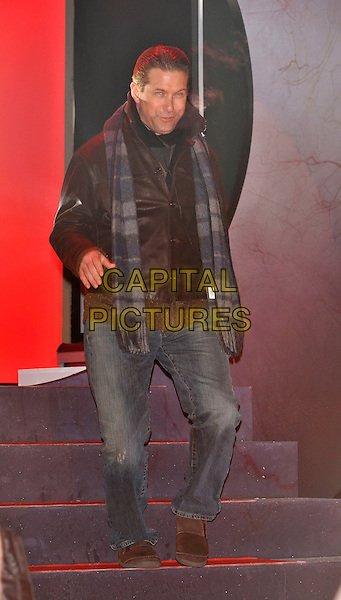 STEPHEN BALDWIN.Contestants enter the House on the Opening Night of Celebrity Big Brother, Elstree Studios, London, England..January 3rd, 2010.CBB BB full length brown leather jacket jeans denim scarf blue grey gray tartan plaid.CAP/PL.©Phil Loftus/Capital Pictures.