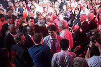The 23rd Prime Minister of Canada, the Right Honorable Justin Trudeau greets the audience following his Keynote Address during the final day of the Liberal Biennial Convention at the RBC Convention Centre Saturday May 28, 2016 in Winnipeg.<br /> (David Lipnowski / Agence Qu&eacute;bec Presse)