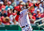 14 April 2018: Washington Nationals shortstop Trea Turner has a foul glance off his cheek during a game against the Colorado Rockies at Nationals Park in Washington, DC. Turner was not injured on the play as the Nationals rallied to defeat the Rockies 6-2 in the 3rd game of their 4-game series. Mandatory Credit: Ed Wolfstein Photo *** RAW (NEF) Image File Available ***