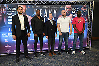 Joe Joyce (L), Daniel Dubois, Frank Warren, Nathan Gorman and Bryant Jennings during a Press Conference at Intercontinental Hotel O2 on 5th June 2019