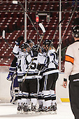 The Falcons celebrate Gensler's second goal. - The Bentley University Falcons defeated the College of the Holy Cross Crusaders 3-2 on Saturday, December 28, 2013, at Fenway Park in Boston, Massachusetts.