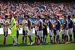 Atletico de Madrid´s players and Espanyol´s players before 2013-14 La Liga Atletico de Madrid V Espanyol match at Vicente Calderon stadium in Madrid, Spain. October 19, 2014. (ALTERPHOTOS/Victor Blanco)