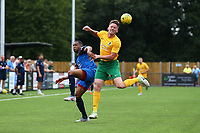 Dylan Merchant of Horsham and Tayo Obelayo of Hartley Wintney during Horsham vs Hartley Wintney, Friendly Match Football at Hop Oast on 13th July 2019