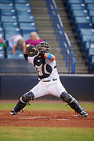 Tampa Yankees catcher Wes Wilson (27) throws down to second during a game against the Daytona Tortugas on August 5, 2016 at George M. Steinbrenner Field in Tampa, Florida.  Tampa defeated Daytona 7-1.  (Mike Janes/Four Seam Images)