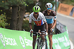Merhawi Kudus (ERI) Dimension Data and Ben Gastauer (LUX) AG2R La Mondiale on the final climb at the end of Stage 20 of the La Vuelta 2018, running 97.3km from Andorra Escaldes-Engordany to Coll de la Gallina, Spain. 15th September 2018.                   <br /> Picture: Colin Flockton | Cyclefile<br /> <br /> <br /> All photos usage must carry mandatory copyright credit (© Cyclefile | Colin Flockton)