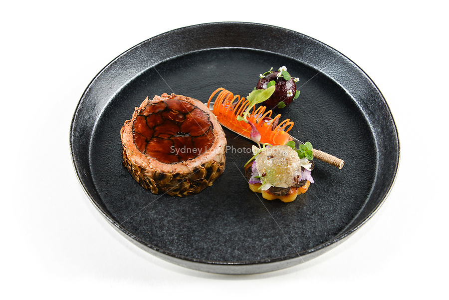 Melbourne, 30 May 2017 - The meat dish by Michael Cole of the Georgie Bass Cafe & Cookery in Flinders at the Australian selection trials of the Bocuse d'Or culinary competition held during the Food Service Australia show at the Royal Exhibition Building in Melbourne, Australia. Photo Sydney Low