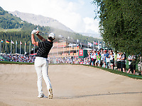 Rory Mcilroy (NIR) in action from the bunker on the 18th hole during second round at the Omega European Masters, Golf Club Crans-sur-Sierre, Crans-Montana, Valais, Switzerland. 30/08/19.<br /> Picture Stefano DiMaria / Golffile.ie<br /> <br /> All photo usage must carry mandatory copyright credit (© Golffile | Stefano DiMaria)