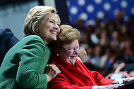 Baltimore, MD - April 10, 2016: Former Secretary of State and 2016 Democratic presidential candidate Hilary Clinton hugs retiring U.S. Senator Barbara Mikulski (D-MD) during a campaign event at the City Garage in Baltimore, MD, April 10, 2016.  (Photo by Don Baxter/Media Images International)