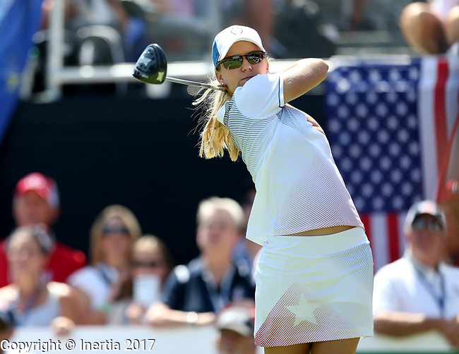 DES MOINES, IA - AUGUST 19: USA's Austin Ernst watches her tee shot on the 1st hole of their afternoon four-ball match Saturday at the 2017 Solheim Cup in Des Moines, IA. (Photo by Dave Eggen/Inertia)