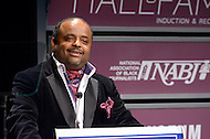 January 26, 2012  (Washington, DC)  TV One commentator and CNN contributor Roland Martin introduces Johnathan Rodgers at the 2012 National Association of Black Journalists (NABJ) Hall of Fame Induction Ceremony. Rodgers was inducted during a ceremony held at the Newseum in Washington.  (Photo by Don Baxter/Media Images International)