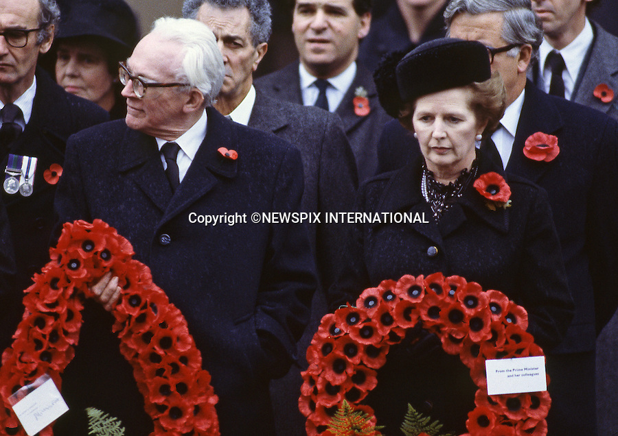 """MARGARET THATCHER DIES AGED 87-YEAR-OLD..MARGARET THATCHER WITH MICHAEL FOOT (Opposition Leader).Remembrance Service, Cenotaph. London, England.Mandatory credit photo:©Francis Dias/NEWSPIX INTERNATIONAL..**ALL FEES PAYABLE TO: """"NEWSPIX INTERNATIONAL""""**..PHOTO CREDIT MANDATORY!!: NEWSPIX INTERNATIONAL(Failure to credit will incur a surcharge of 100% of reproduction fees)..IMMEDIATE CONFIRMATION OF USAGE REQUIRED:.Newspix International, 31 Chinnery Hill, Bishop's Stortford, ENGLAND CM23 3PS.Tel:+441279 324672  ; Fax: +441279656877.Mobile:  0777568 1153.e-mail: info@newspixinternational.co.uk"""