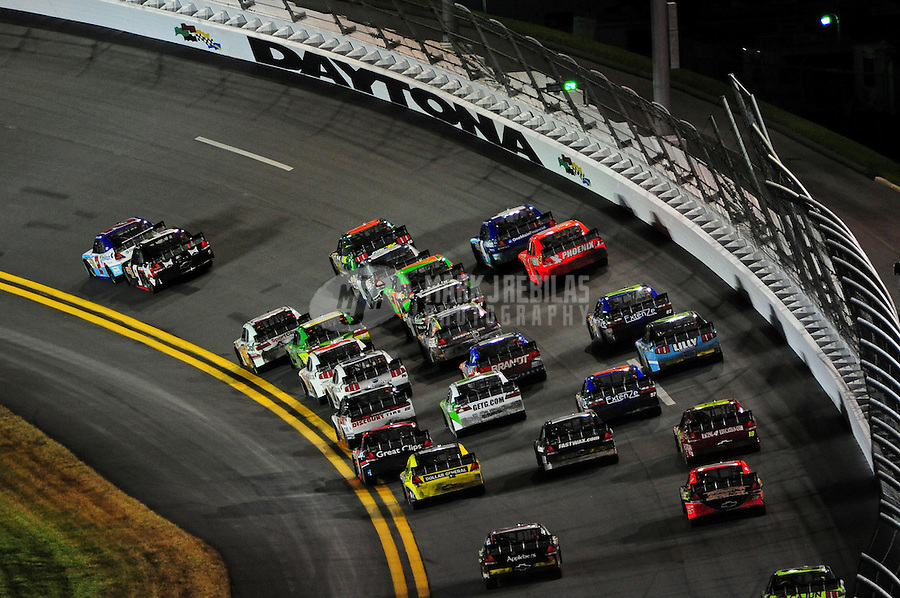 Jul. 1, 2011; Daytona Beach, FL, USA; NASCAR Nationwide Series driver Elliott Sadler leads the field during the Subway Jalapeno 250 at Daytona International Speedway. Mandatory Credit: Mark J. Rebilas-