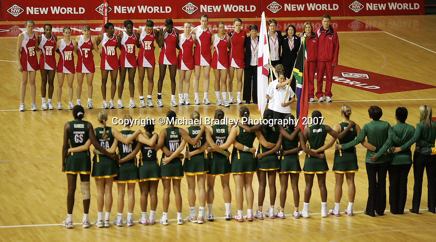 13.11.2007 The national anthem are played prior to the England v South Africa match at the New World Netball World Champs held at Trusts Stadium Auckland New Zealand. Mandatory Photo Credit ©Michael Bradley.
