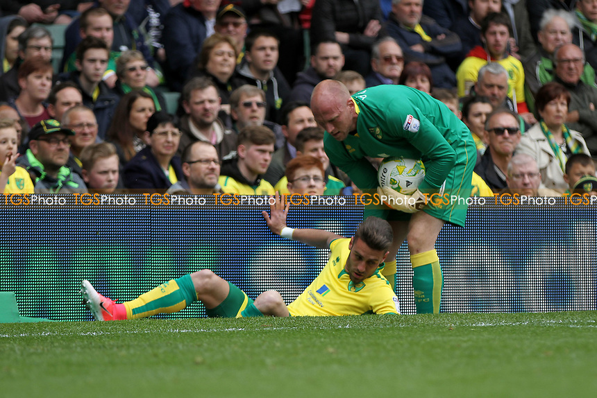 John Ruddy of Norwich City helps Ivo Pinto of Norwich City up off the floor after he hits the advertising boards during Norwich City vs Fulham, Sky Bet EFL Championship Football at Carrow Road on 14th April 2017