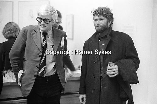 "David Hockney with artist RB Kitaj at the opening of Hockney opening night show ""Recent Etchings"" at the Kasmin Gallery Bond Street London. 1969"