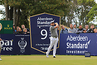 Tyrrell Hatton (ENG) on the 9th during Round 2 of the Aberdeen Standard Investments Scottish Open 2019 at The Renaissance Club, North Berwick, Scotland on Friday 12th July 2019.<br /> Picture:  Thos Caffrey / Golffile<br /> <br /> All photos usage must carry mandatory copyright credit (© Golffile | Thos Caffrey)