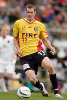 Nate Jaqua of the Fire. The MetroStars defeated the Chicago Fire 2-0 during the inaugural Hall of Fame game on Monday October 11, 2004 at At-A-Glance Field at the National Soccer Hall of Fame and Museum, Oneonta, NY..