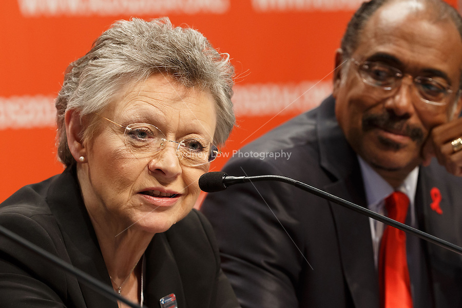 Fran&ccedil;oise Barr&eacute;-Sinoussi speaks at a press conference prior to the opening session of the 20th International AIDS Conference (AIDS 2014) at the Melbourne Convention and Exhibition Centre.<br /> For licensing of this image please go to http://demotix.com