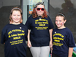 Aiofe and kayleigh Ward and Isobella McCormac collecting at the Ardee 10K run. Photo: www.colinbellphotos.com