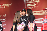 Michal Kwiatkowski (POL) Team Sky wins and gets the kisses on the podium at the end of the 2017 Strade Bianche running 175km from Siena to Siena, Tuscany, Italy 4th March 2017.<br /> Picture: Eoin Clarke | Newsfile<br /> <br /> <br /> All photos usage must carry mandatory copyright credit (&copy; Newsfile | Eoin Clarke)