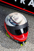 Aug 31, 2014; Clermont, IN, USA; Detailed view of the helmet of NHRA top fuel dragster driver Steve Torrence during qualifying for the US Nationals at Lucas Oil Raceway. Mandatory Credit: Mark J. Rebilas-USA TODAY Sports