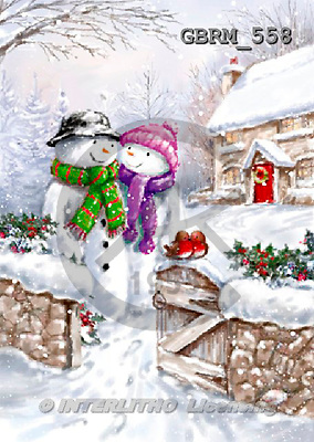 Roger, CHRISTMAS SANTA, SNOWMAN, paintings+++++,GBRM558,#X#