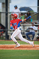 Yasser Mercedes (8) during the Dominican Prospect League Elite Florida Event at Pompano Beach Baseball Park on October 14, 2019 in Pompano beach, Florida.  (Mike Janes/Four Seam Images)