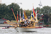 Greenwich, London, UK. 7 September 2014. Her Majesty the Queen's row barge Gloriana leads a  Royal Pageant up the River Thames from Martime Greenwich during the Tall Ships Festival, Greenwich, London, UK. Photo: Bettina Strenske