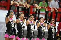 September 22, 2007; Patras, Greece;   Rhythmic group from Italy celebrates winning All-Around silver in rhythmic group competition at 2007 World Championships Patras.   Italian group qualified for  2008 Beijing Olympic Games.  Photo by Tom Theobald.
