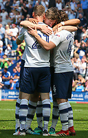 Preston North End's Louis Moult celebrates scoring his side's second goal with Callum Robinson, Ben Pearson and Paul Gallagher<br /> <br /> Photographer Alex Dodd/CameraSport<br /> <br /> The EFL Sky Bet Championship - Preston North End v Burton Albion - Sunday 6th May 2018 - Deepdale Stadium - Preston<br /> <br /> World Copyright &copy; 2018 CameraSport. All rights reserved. 43 Linden Ave. Countesthorpe. Leicester. England. LE8 5PG - Tel: +44 (0) 116 277 4147 - admin@camerasport.com - www.camerasport.com