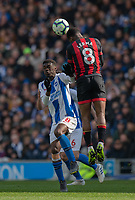Brighton & Hove Albion's Yves Bissouma (left) battles with Bournemouth's Jefferson Lerma (right) <br /> <br /> Photographer David Horton/CameraSport<br /> <br /> The Premier League - Brighton and Hove Albion v Bournemouth - Saturday 13th April 2019 - The Amex Stadium - Brighton<br /> <br /> World Copyright © 2019 CameraSport. All rights reserved. 43 Linden Ave. Countesthorpe. Leicester. England. LE8 5PG - Tel: +44 (0) 116 277 4147 - admin@camerasport.com - www.camerasport.com