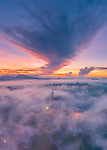 Pictured: A temple appears to glow through early morning fog as the sun rises over a Vietnamese city.   The golden place of worship shines brightly amid the surrounding trees as it catches the dawn rays.<br /> <br /> The aerial image of the Tam An temple was captured by a drone in the city of Da Lat in the south of the country.   It was taken at 6am by photographer Pham Huy Trung, from Ho Chi Minh city, who travelled there to take pictures of the fog.   SEE OUR COPY FOR DETAILS<br /> <br /> Please byline: Trung Pham Huy /Solent News<br /> <br /> © Trung Pham Huy /Solent News & Photo Agency<br /> UK +44 (0) 2380 458800