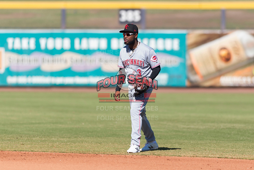 Scottsdale Scorpions shortstop Alfredo Rodriguez (3), of the Cincinnati Reds organization, during an Arizona Fall League game against the Peoria Javelinas at Peoria Sports Complex on October 18, 2018 in Peoria, Arizona. Scottsdale defeated Peoria 8-0. (Zachary Lucy/Four Seam Images)