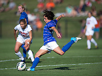 Mollie Pathman (24) of Duke clears the ball out of the box during the game at Klockner Stadium in Charlottesville, VA.  Virginia defeated Duke, 1-0.