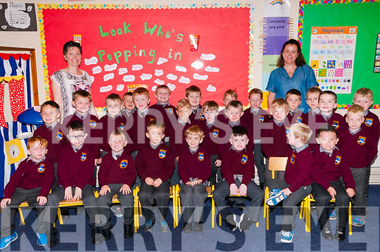 M/s Costello's junior infant class at Scoil Realta na Maidne, Listowel on their first day at school.