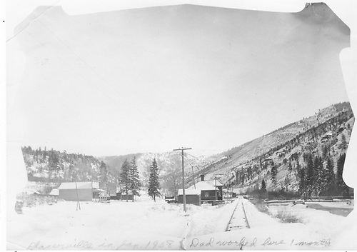A winter view down the track near the Placerville depot.  Charles Welbon worked here for a time.<br /> RGS  Placerville, CO  1/1908