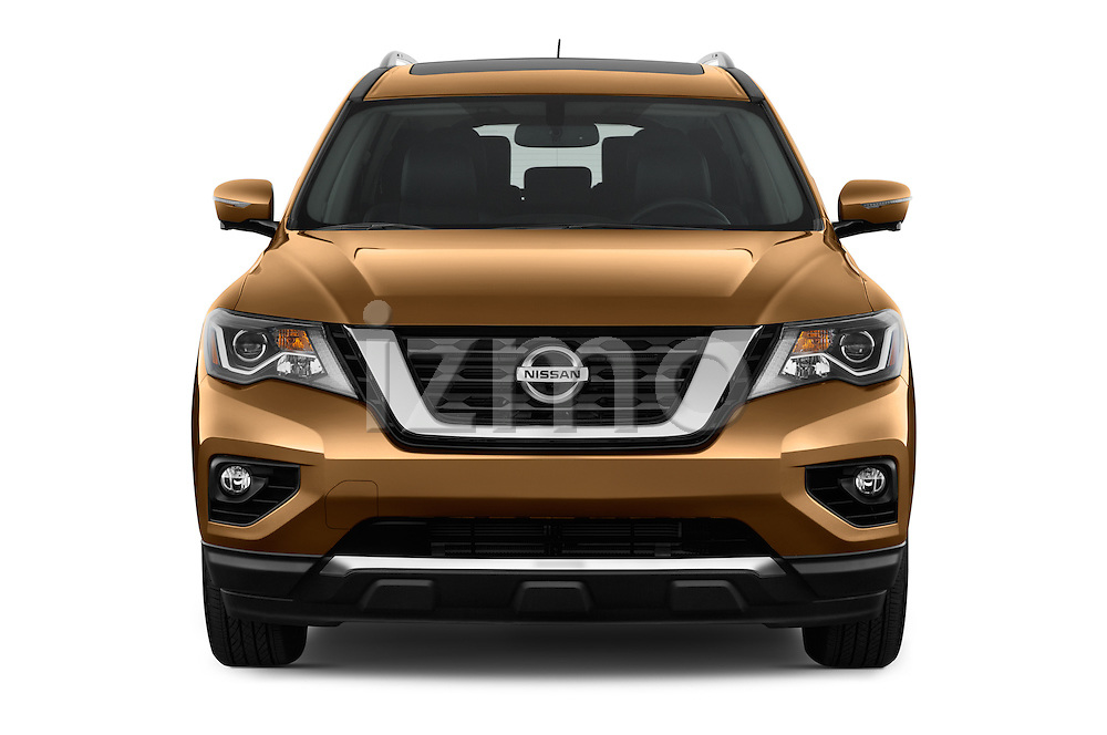 Car photography straight front view of a 2017 Nissan Pathfinder Platinum 5 Door SUV Front View
