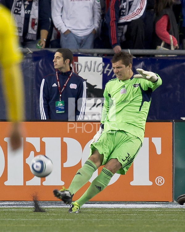 New England Revolution goalkeeper Bobby Shuttleworth (34). In a Major League Soccer (MLS) match, the Columbus Crew defeated the New England Revolution, 3-0, at Gillette Stadium on October 15, 2011.