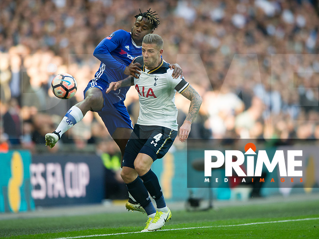 Chelsea's Michy Batshuayi and Tottenham's Toby Alderweireld during the FA Cup Semi Final match between Chelsea and Tottenham Hotspur at Wembley Stadium, London, England on 22 April 2017. Photo by Andrew Aleksiejczuk / PRiME Media Images.