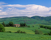 Tuscany, Italy      <br /> View of the rolling hills and valley of Val d'Orcia near the hilltown of Contignano