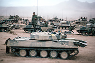 Fort Irwin, California - September 17, 1985. Tanks and U.S. military personal training at the National Training Center located in the Mojave Desert. Opened on October 16, 1980, this facility is the primary training area for the United States Military.