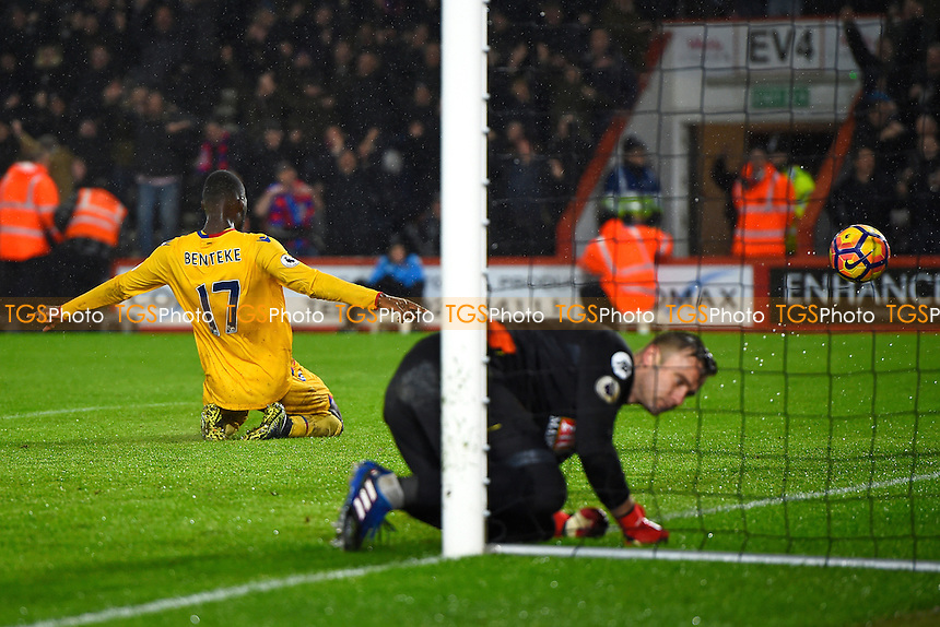 Christian Benteke celebrates scoring the second goal as Artur Boruc of AFC Bournemouth dogs the ball out of the net during AFC Bournemouth vs Crystal Palace, Premier League Football at the Vitality Stadium on 31st January 2017