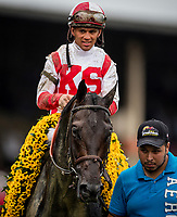 BALTIMORE, MD - MAY 20:  Cloud Computing #2 ridden by Javier Castellano after winning the Preakness Stakes at Pimlico Race Course on May 20, 2017 in Baltimore, Maryland. (Photo by Alex Evers/Eclipse Sportswire/Getty Images)