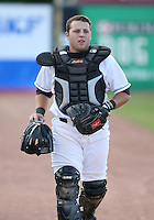 Tyler Belcher of the Jamestown Jammers, Class-A affiliate of the Florida Marlins, during New York-Penn League baseball action.  Photo by Mike Janes/Four Seam Images