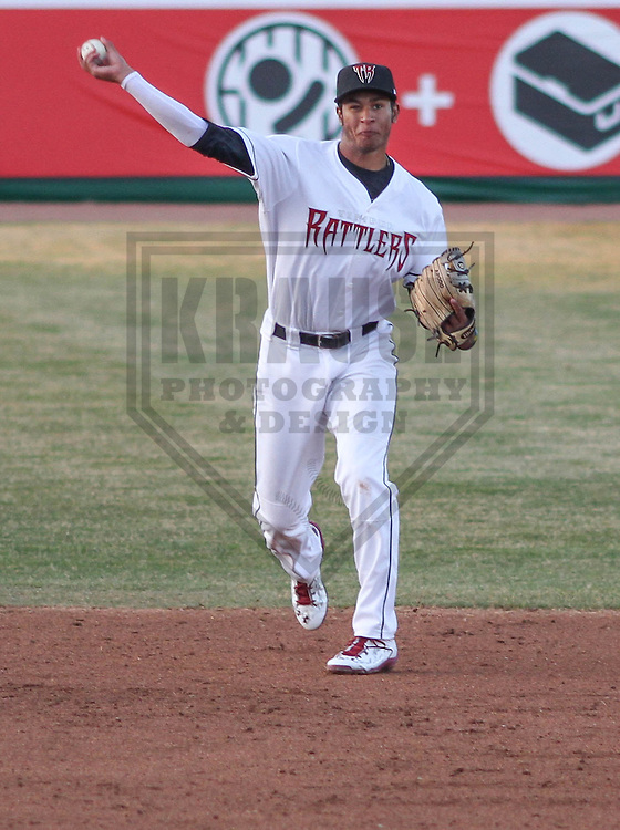 APPLETON - April 2015:  Wisconsin Timber Rattlers shortstop Jake Gatewood (2) during a  game against the Burlington Bees on April 16th, 2015 at Fox Cities Stadium in Appleton, Wisconsin. (Photo Credit: Brad Krause)