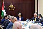 Palestinian President Mahmoud Abbas attends a meeting of the Palestine Liberation Organization (PLO) executive committee at his compound in the West Bank city of Ramallah, on March 7, 2018. Photo by Osama Falah